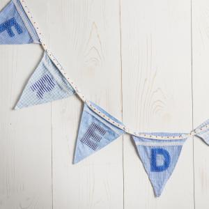 Personalised Blue Name Bunting