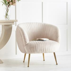 Pale Blush Pink Velvet Pleated Chair