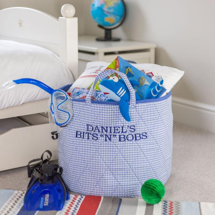 Blue Gingham Storage Bag