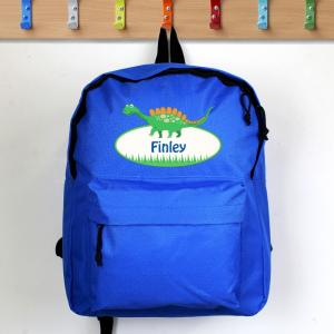 Dinosaur Blue Personalised Backpack