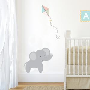 Pastel Jungle Train Elephant Wall Sticker