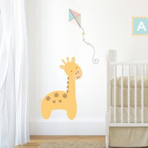 Pastel Jungle Train Giraffe Wall Sticker