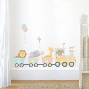 Pastel Jungle Train Wall Sticker Set