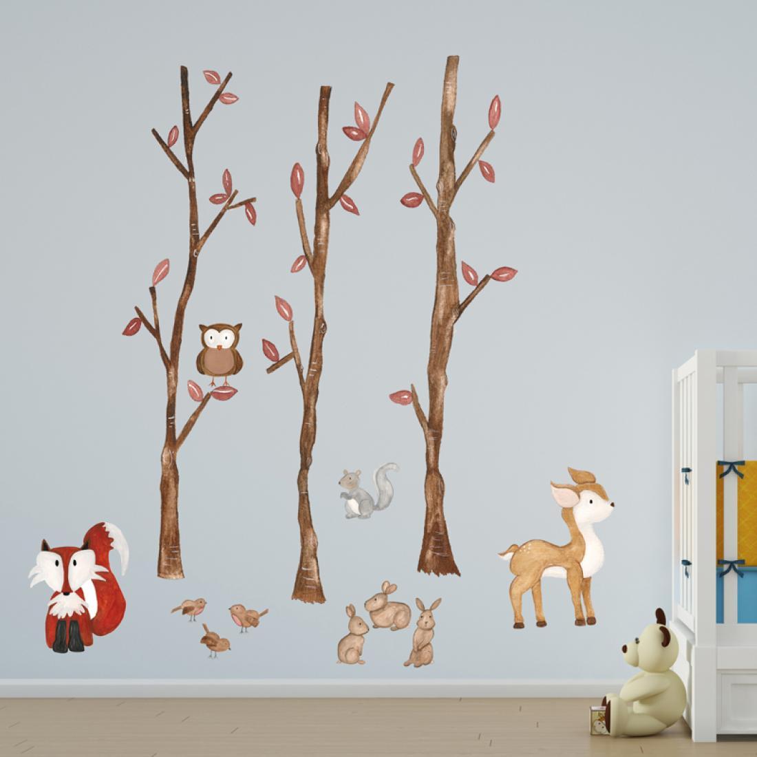 forest friends wall sticker. Black Bedroom Furniture Sets. Home Design Ideas