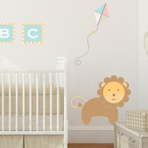 Pastel Jungle Train Lion Wall Sticker