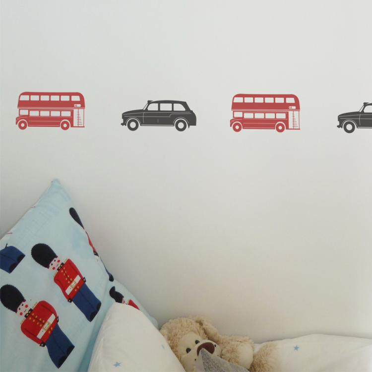 London Bus and Taxi Mixed Pack of Wall Stickers