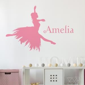 Ballerina Personalised Name Wall Sticker