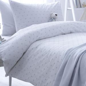 Organic Dotty Blue Cotton Single Duvet Set