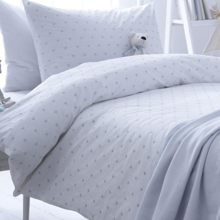 Organic Dotty Blue Cotton Duvet Set