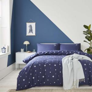 Organic Navy with White Scattered Stars Cotton Duvet Set