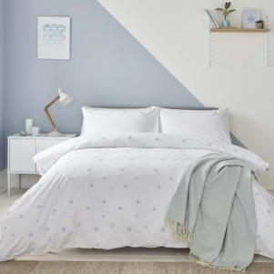 Organic White with Blue Scattered Stars Cotton Duvet Set