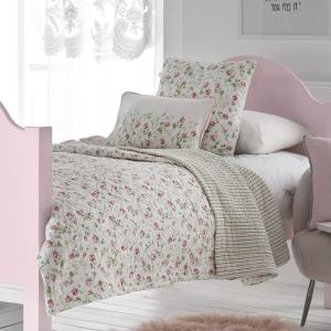 Pink and Green Flowers Quilted Bedspread