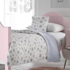 Pale Blue Flowers Quilted Bedspread