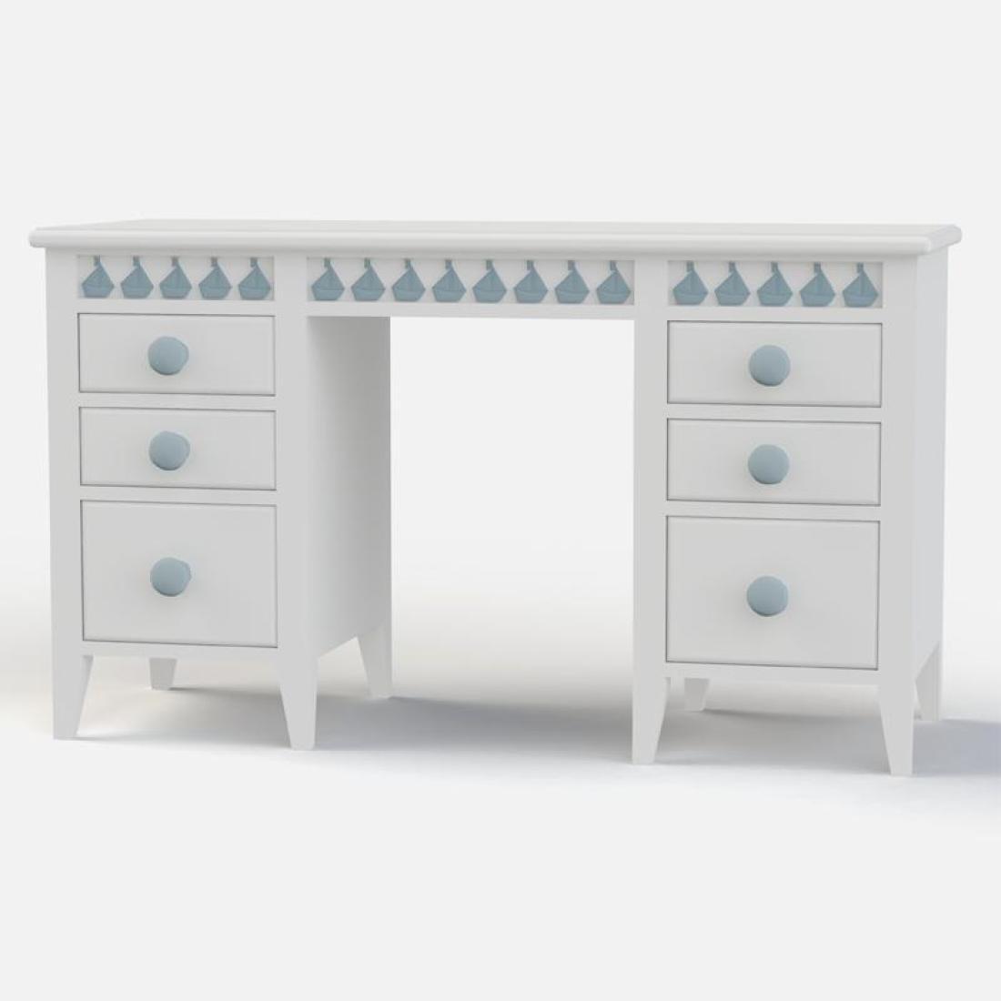 Little Buoy Blue Double Desk Solid Wooden Boys Desk