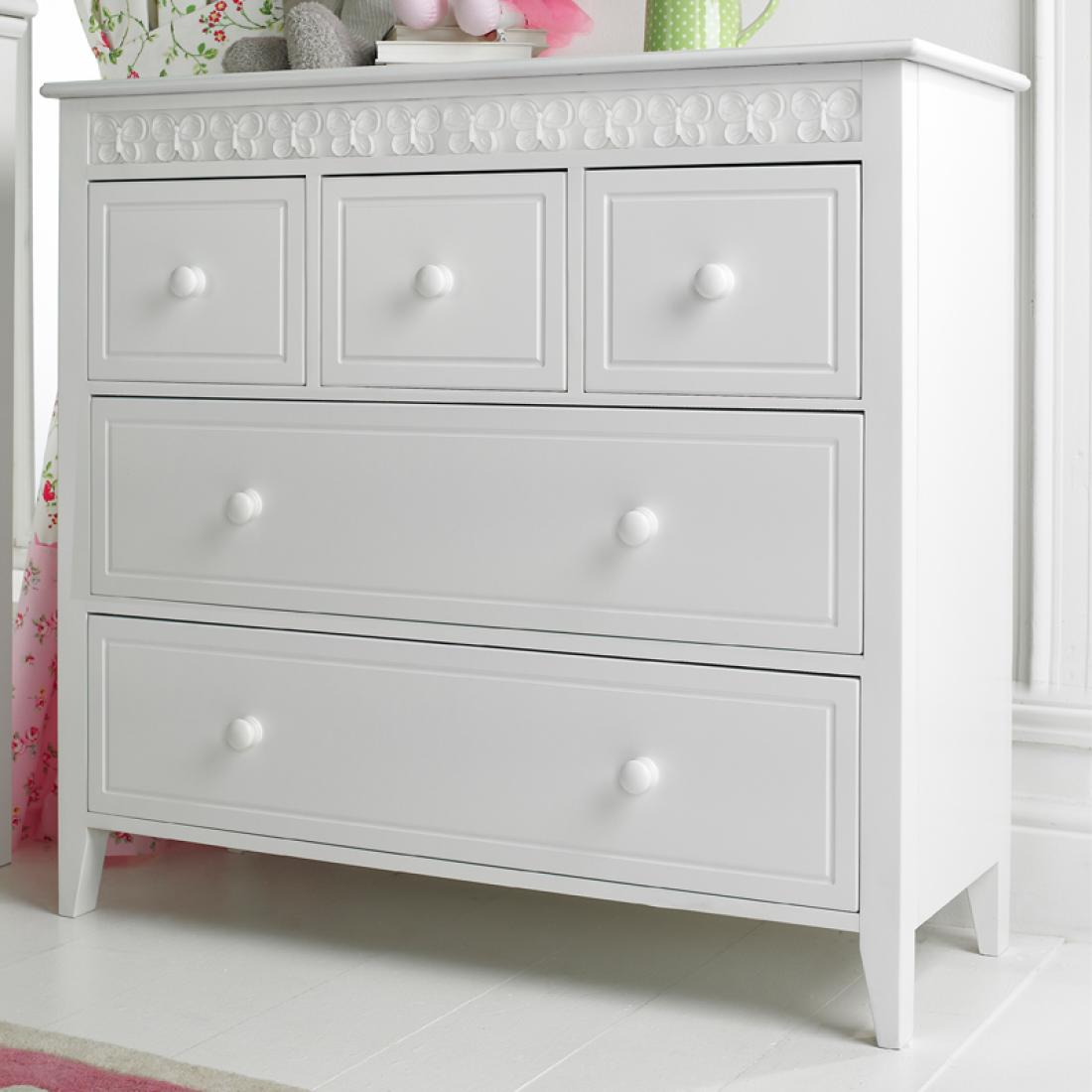 Florence flutterby 3 over 2 childrens chest of drawers for Fitted bedroom furniture 0 finance