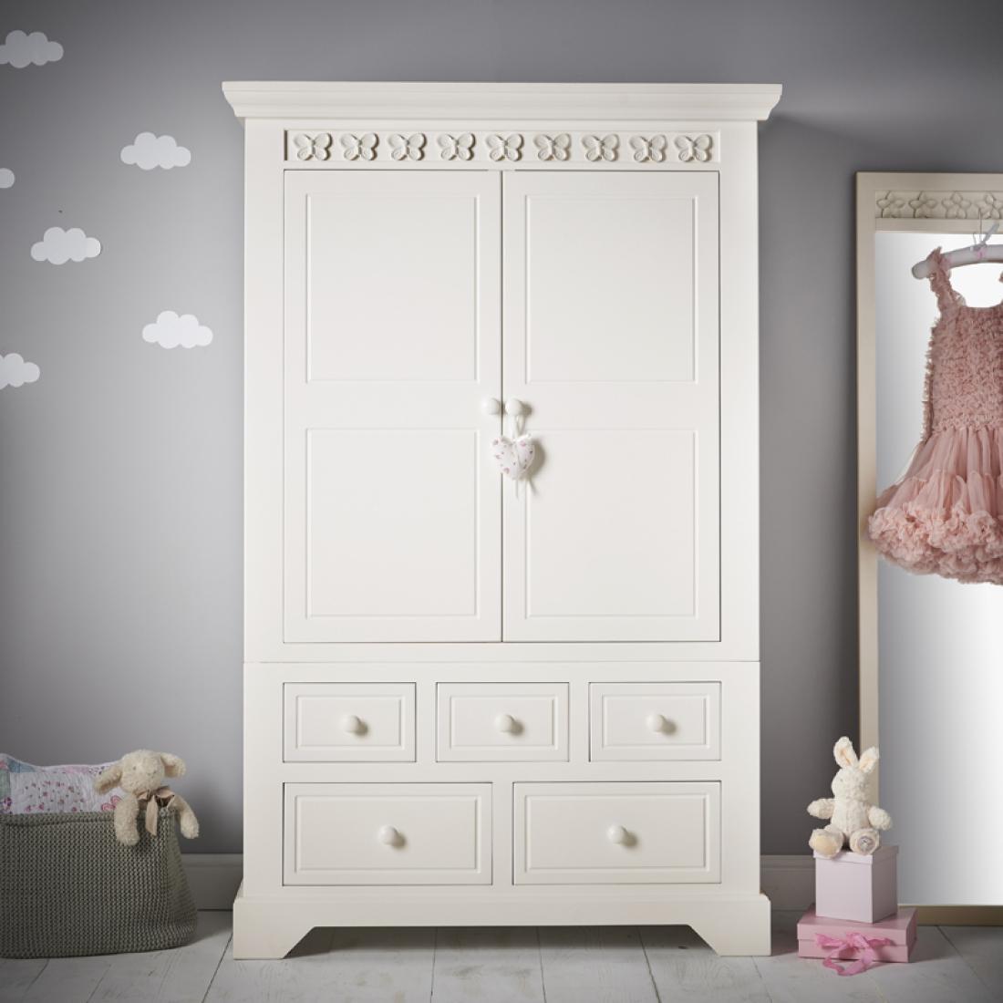 Florence flutterby combination wardrobe childrens for Childrens wardrobes uk